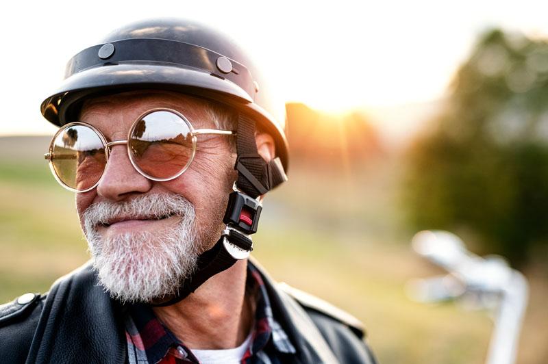 Biker smiling